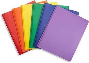 6 Pack Multicolor Plastic Two Pocket Folders with Prongs, Plastic Folders with 2 Pockets and 3 prongs, 2 Pocket Plastic Folders for School, Home, and Work, 6 Pack Plastic Folders