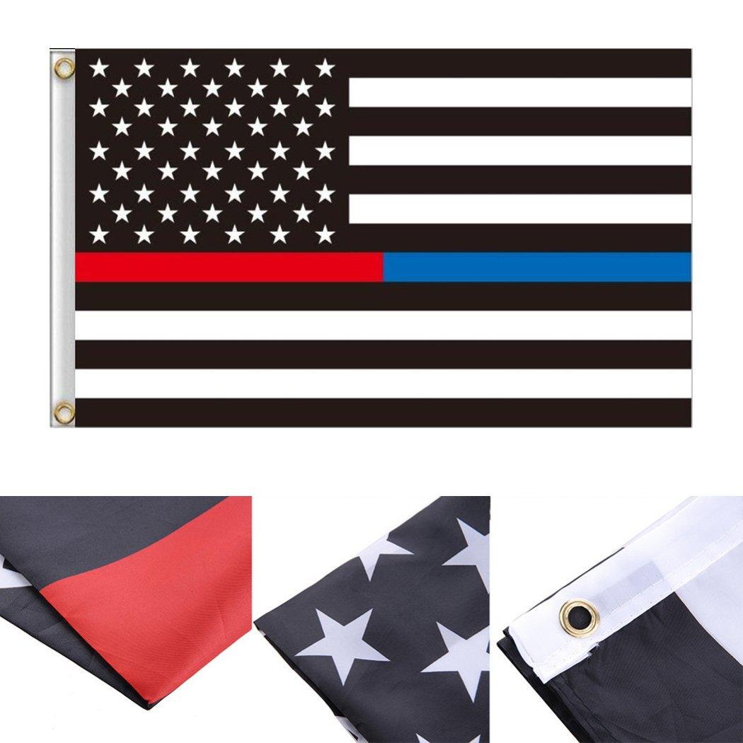 neejee delgada línea azul rojo y fuego sentido y Honor de aplicación de la ley de policía de Estados Unidos flag-3 pies x 5 pies, Polyester Banners: Amazon.es: Jardín