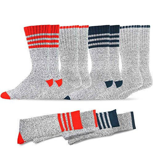 Soxnet Eco Friendly Heavy Weight Recyled Cotton Thermals Boot Socks 4 Pairs (9-11, Stripe-Red/Blue)