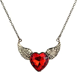 Yazilind Jewelry Vintage Bronze Chain Angle Wing Carve Red Heart Crystal Chain Pendant Necklace
