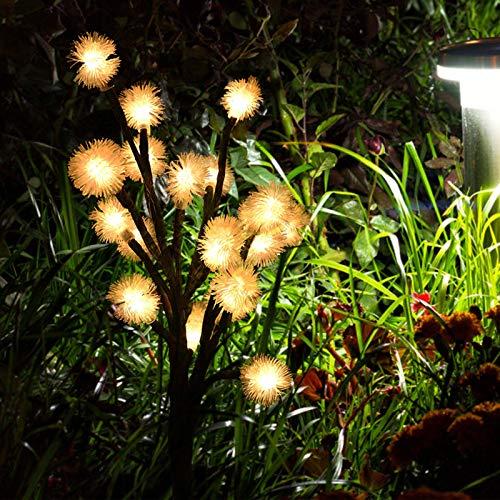 2 Piezas de luz de Paisaje, Luces LED solares Ajustables de Diente de león, Ahorro de energía, Impermeable, Flexible para aceras de jardín(Warm Light)