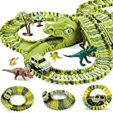 Creat your own dinosaur theme race:flexible combination and varieties of ways to play.Exercise hand-eye coordination and color perception. Include 240 flexible race track pieces, 1 x toy car, 6 x dinosaur models, 4 x tree, 2 x dinosaur head and 4 x S...