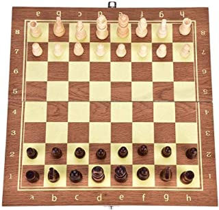 Great Gift 34.5 34 cm Folding Board Wooden International Chess Game Pieces Set Staunton Style Chessmen Collection Portable...