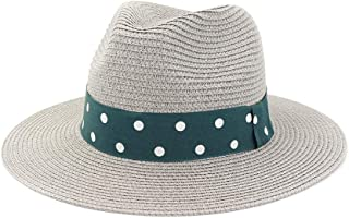 Summer Mesh Straw Women Men Travel Beach Sun Hat Elegant Lady Fedora Wide Brim Panama Sunbonnet Sunhat Size 56-58CM` TuanTuan (Color : Gray, Size : 56-58CM)