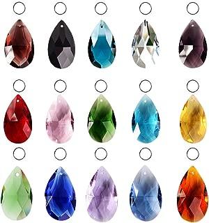 SunAngel Teardrop Glass Beads for Jewelry Crystal Glass Pendants Suncatchers Chandelier Prism Parts Beads for Decoration Party Christmas Wedding (15PCS Crystal Grid Shape)