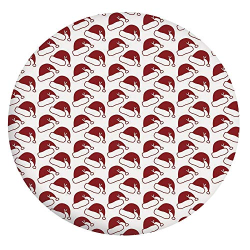 Elastic Edged Polyester Fitted Tablecloth,Santa Hat Pattern Symbols of Winter Season Sledge Ornamental Design Doodle Style Decorative Tablecloth,Fits Round Tables 24',for Dining Room and Party Ruby Wh