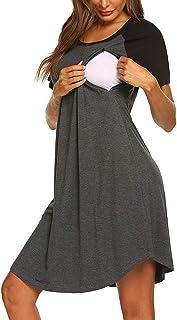 Mujer Vestido Premamá Vestidos de Dormir Pijamas Vestido de Maternidad de Lactancia Verano Mangas Cortas Multifuncional Cuello Redondo Sólido Midi Vestido Embarazada