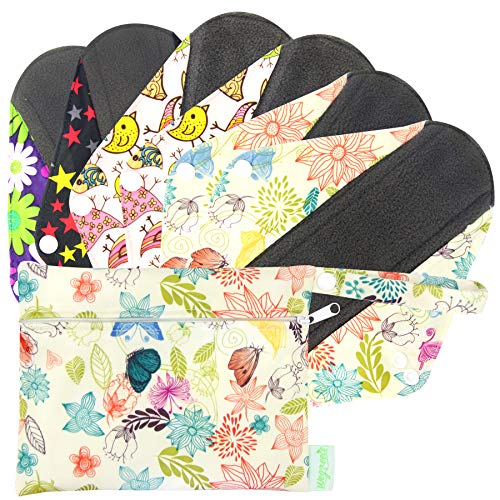 Wegreeco Bamboo Reusable Sanitary Pads - Cloth Sanitary Pads | Light Incontinence Pads | Reusable Menstrual Pads with Wet Bag - 1 Small Wet Bag (Large, Mix Prints)