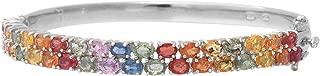 Multi Sapphire Bangle Bracelet Platinum Plated 925 Sterling Silver 6.50