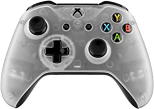 eXtremeRate Foggy Clear Faceplate Cover, Soft Touch Front Housing Shell Case, Comfortable Soft Grip Replacement Kit for Xbox One S & Xbox One X Game Controller