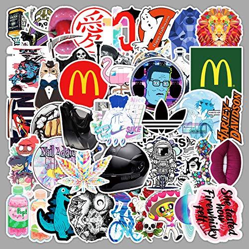 ZNMSB 50 Moda Graffiti Dibujos Animados Taza de Agua Maleta portátil teléfono móvil Tableta Guitarra monopatín Pegatinas Impermeables