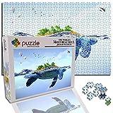 GFSJJ Puzzles Cuadros Famosos para Niño Infantiles Adolescentes Adultos Puzle 1000 Piezas Mover Continente Tortuga Marina Animales Fantasía Juegos Educativos Entretenimiento (20.5 X 15 Pulgada)