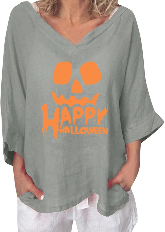 XUELIXIANG Women V Neck unisex Print Free shipping / New 3 4 Linen Cotton T-Shirt Ca Sleeve