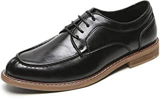 CHENDX Shoes Business Oxfords for Men Casual Anti-Slip Low Heel Shoes Lace up Round Toe Microfiber Leather Stitch Wood-Like Heel (Color : Black, Size : 43 EU)