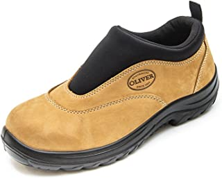 Oliver Work Boots, 34615, Steel Toe Safety, Wheat Slip-On Sports Shoe.