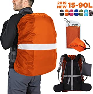 Hunsuetek Reflective Backpack Rain Cover(15L-90L), Waterproof Travel Pack Cover with Anti Slip Adjustable Buckle Straps, Rainproof Pouch for Hiking/Cycling/Traveling