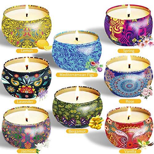 McNory 8 Pack Regalo de Velas Perfumadas, Velas Aromaticas,Cera de Soja Natural,Aromaterapia Decoración para Relajación Fiesta Boda Baño Yoga Cumpleaños Navidad Día de San Valentín Regalos