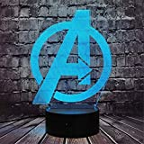 3D Illusion Lamp Led Night Light The Avengers Logo Arylic Crystal RGB Changeable LED Mood Lamp for Birthday Holiday A Gift