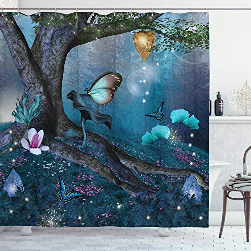 Lunarable Fantasy Shower Curtain, Enchanted Forest with Blooming Flowers Mystical Environment Woods Illustration, Cloth Fabric Bathroom Decor Set with Hooks, 70' Long, Dark Blue