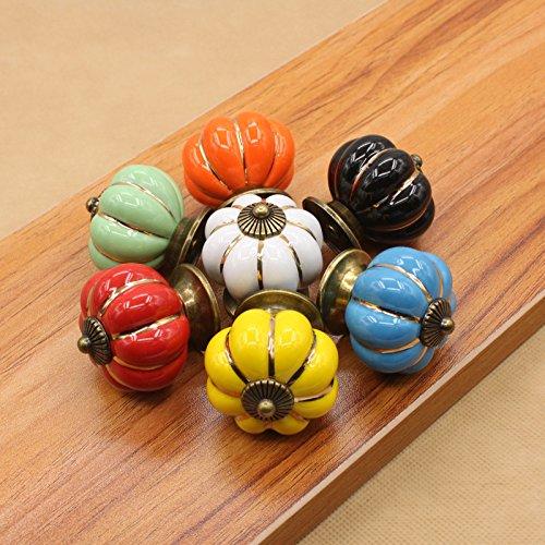 oobest 1 st Multi kleuren pompoen knoppen Vintage keramische trekkers keuken kast dressing tafel dressoir handvat 40×40mm Geel