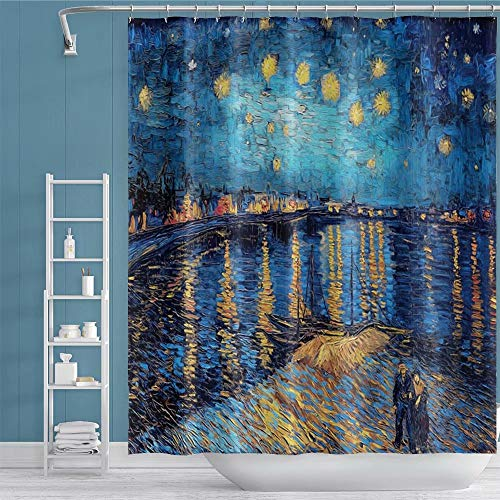 Qinunipoto Van Gogh Shower Curtain Starry Night Over The Rhone People Boat Stars for Master Guest Club Home Bathroom Decor Bathtub Polyester Hole Grommet Metal and Hooks 60x72inch