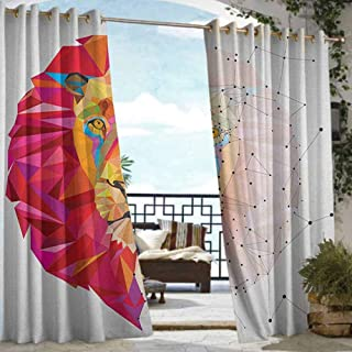 Andrea Sam Patio Curtains Geometric,Lion Head Art Geometric Graphic in Digital Triangle Rainbow Retro Style, White Pink Orange,W72 xL84 Outdoor Privacy Porch Curtains