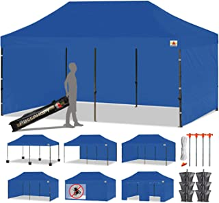 ABCCANOPY 23+ Colors Deluxe 10x20 Pop up Canopy Outdoor Party Tent Commercial Gazebo with Enclosure Walls and Wheeled Carry Bag Bonus 6 Weight Bags,2 Half Walls and 1 Screen Wall (Navy Blue)