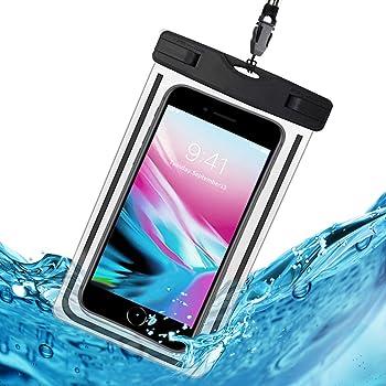 防水ケース スマホ用 防水携帯ケース HomKin IPX8規格 夜間発光 潜水 お風呂 水泳 砂浜 水遊びなど用 フォンケース・カバー フローティング 【iPhone X / 8/7/6 / Plus とAndroid SAMSUNG Galaxy S8/S7 edge/SONY Xperia/HUAWEI ネックストラップ付属 各種のスマホ防水ケース6インチまで対応】- (黒)