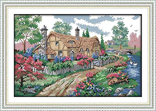 Cross Stitch kit Country House 40x50cm DIY Cross Stitch Embroidery Kit Needle Handmade Counted Printed 14CT (Preprinted Canvas)