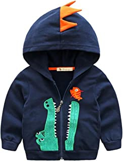423f317cee0 Baby Boys Long Sleeve Dinosaur Hoodies Kids Sweatshirt Toddler Zip-up Jacket