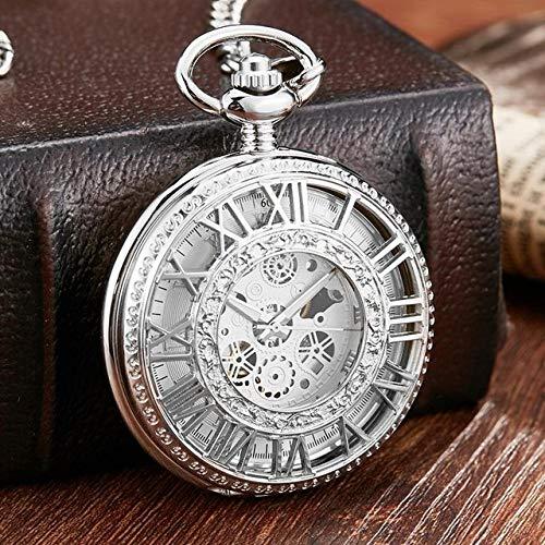 NOBRAND Pocket horloge, Vintage Mechanische Pocket Horloge Mannen Vrouwen Mode Romeinse Numeralen Hout Holle Fob Ketting Hand Wind Steampunk Klok Skeleton Horloge