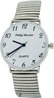 Philip Mercier Unisex Silvertone Expander Bracelet Strap Dress Watch MC45C