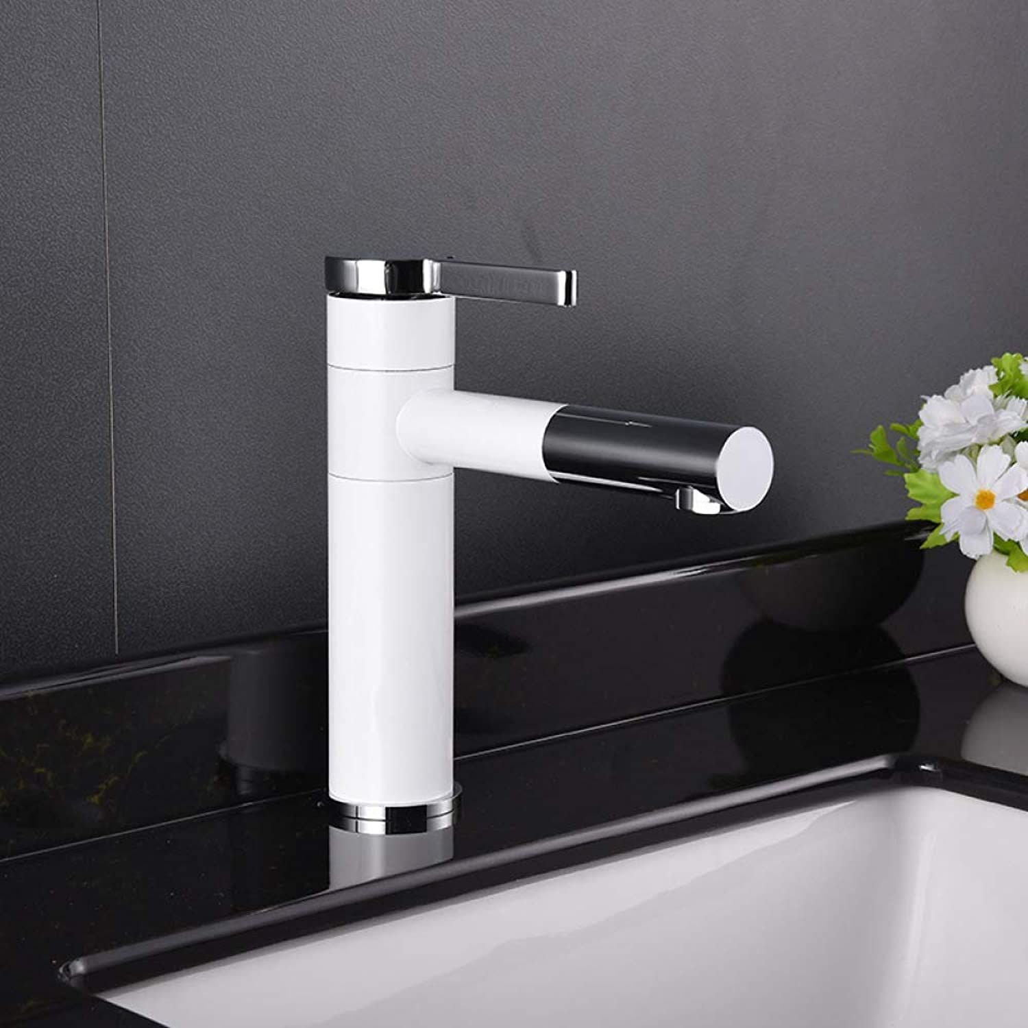 PZXY Faucet Simple Design Basin Faucet Copper Plated White Paint Faucet Elevated Table Basin Faucet hot and Cold Faucet