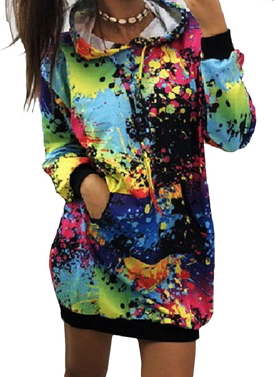 xxxiticat Women's Colorful Tie Dyeing Print Sweatshirt Tops Hooded Rainbow Long Sleeve Shirt Dress Splatter Pullover Hoodies