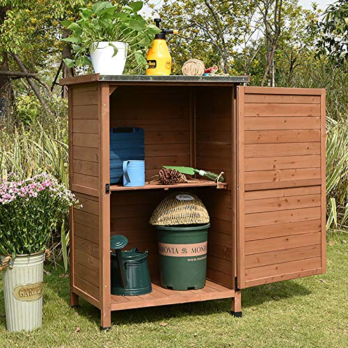 HOBIRD shed wood natural colour 1 door tool cabinet outdoors,Used for Sorting out Debris, Placing Balcony Garden Tools, Daily Necessities, Shoes