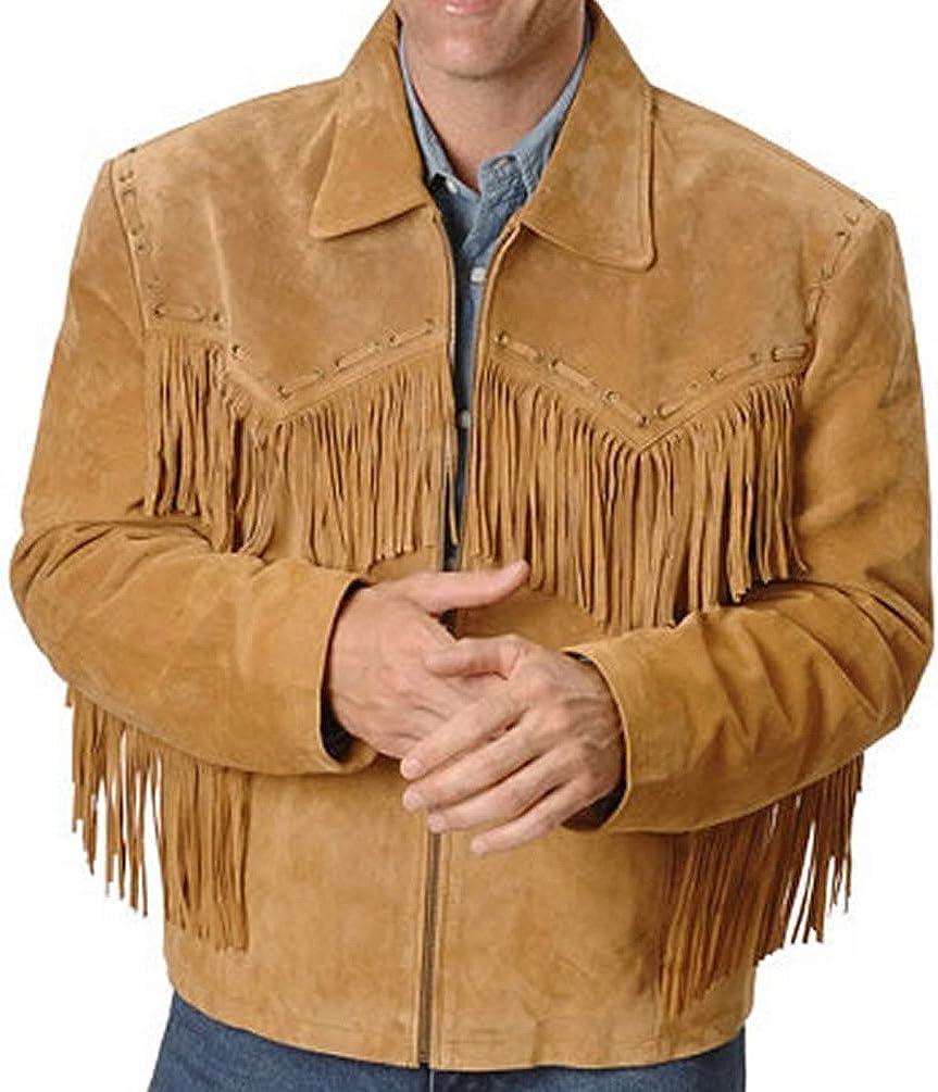 SRHides Men's Cowboy Fringed Leather Jacket Simple