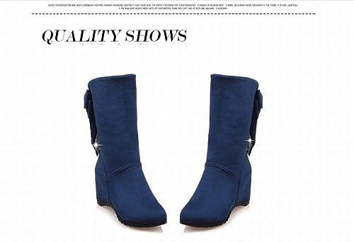 ZHRUI Stiefel para damen - Stiefel Altas para Estudiantes Stiefel para damen Stiefel Medianas Stiefel elásticas 35-43 (Farbe   Blau, tamaño   41)