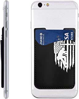 Lineman American Flag Mobile Phone Card Package PU Leather Waterproof Stick On Cell Phone Wallet Pocket Credit Card Holder for Most Smartphones 2.43.5 in