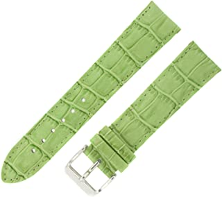 Watch Band Crocodile Grain Lime Green Padded Leather Strap Mens 24 Millimeter