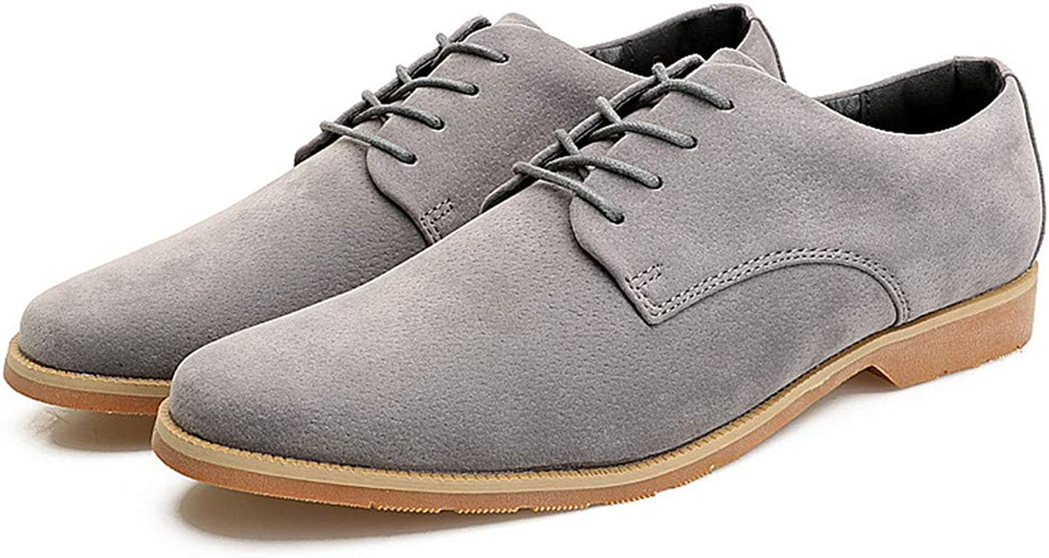 Men's Leisure Oxfords Flat Heel Lace Up Genuine Leather Solid color shoes Cricket shoes