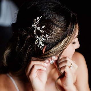 Handcess - Fermaglio per capelli da sposa con cristalli argentati, accessorio per capelli da sposa per donne e ragazze (co...