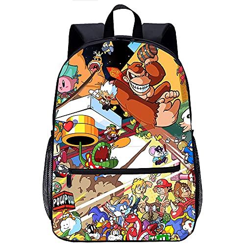 KKASD Sac à dos imprimé en 3D Super Smash Bros Cartable sac à dos jeunesse Sac à dos scolaire sac à dos loisirs sac d'école de voyage scolaire (45x30x15cm)