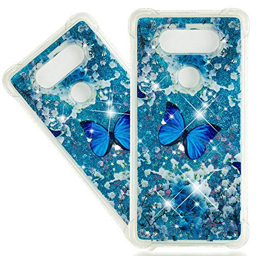 ISADENSER LG V20 Case Clear LG V20 Case [Clear Silicone] [Shock Absorption] Soft TPU Glitter Stylish Design with 3D Hearts Quicksand Shiny Flowing Liquid Protective Cover for LG V20 Blue Butterfly