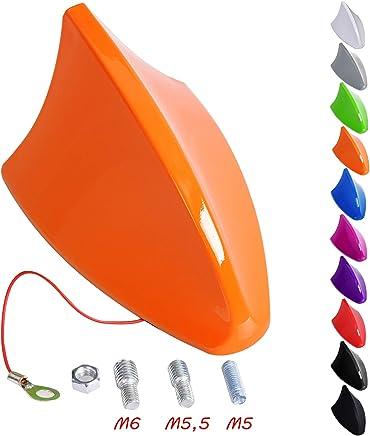 eSituro Coche Techo Universal Antena Aleta de Tiburón Antena Techo para Coche AM/FM Radio Plastico Rosca M5/M5,5/M6, 11 x 7,5 x 6,7cm Naranja SCA0051