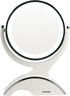 Auxmir Grossissant Miroir Maquillage 10X / 1X Lumineux Miroir Cosmétique avec Éclairage..