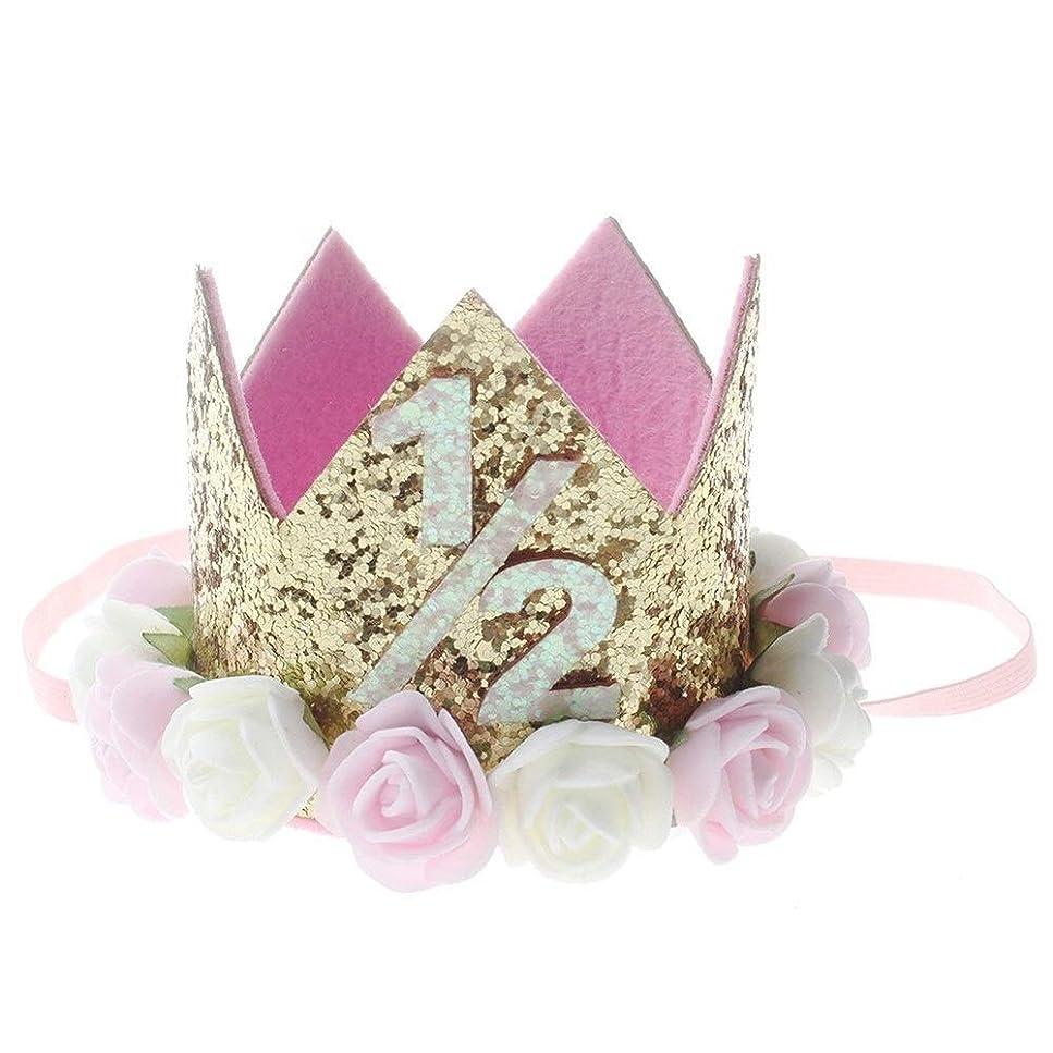どちらもアライアンスハドルヘアアクセサリー 誕生日パーティーのための新しい花の王冠子供ベビー帽子ヘアバンド新生児プリンセスクラウン 髪留め
