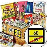 Ortsschild 60 - Geschenke zum 60 Geburtstag Mann - Schokoladen Ossi Paket