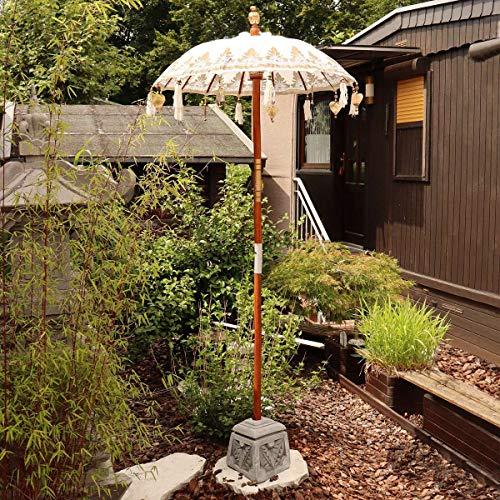 Oriental Galerie Bali Sonnenschirm Balinesischer Schirm Garten Baumwolle Sonnenschutz Handarbeit Retro Vintage Dekoschirm 2-teilig ca. 90 cm Weiß Gold Einfache Bemalung