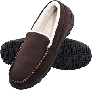 MIXIN Mens Warm Microsuede Moccasin Memory Foam Slippers House Shoe Indoor Outdoor