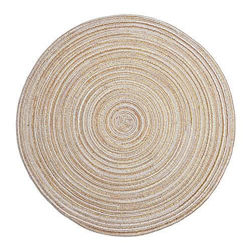 LOHAS Home Diametro 36cm Tovaglietta Rotonda in Cottone, Tovaglietta Resistente al Calore, Tovagliette Intrecciate Antiscivolo Ed Antiscottatura, 6 per Un Set (Beige)
